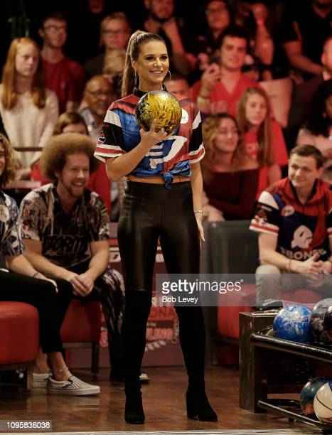 Model and television star Angela Rummans from Big Brother bowls during the 2019 State Farm Chris Paul PBA Celebrity Invitational on January 17 2019...