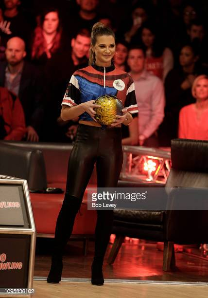 Model and television star Angela Rummans from 'Big Brother' bowls during the 2019 State Farm Chris Paul PBA Celebrity Invitational on January 17 2019...