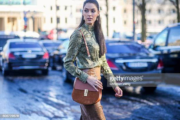Model and TV Host Rebecca Mir during the MercedesBenz Fashion Week Berlin Autumn/Winter 2016 at Brandenburg Gate on January 19 2016 in Berlin Germany