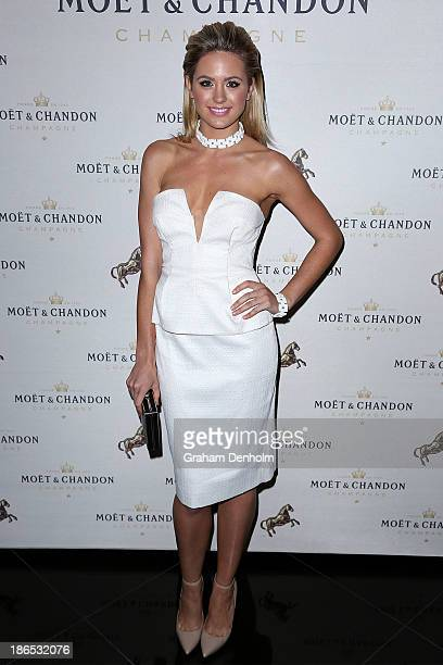 Model and TV personality Jesinta Campbell poses at the Moet Chandon Derby Eve party held at The Waiting Room Crown Towers on November 1 2013 in...