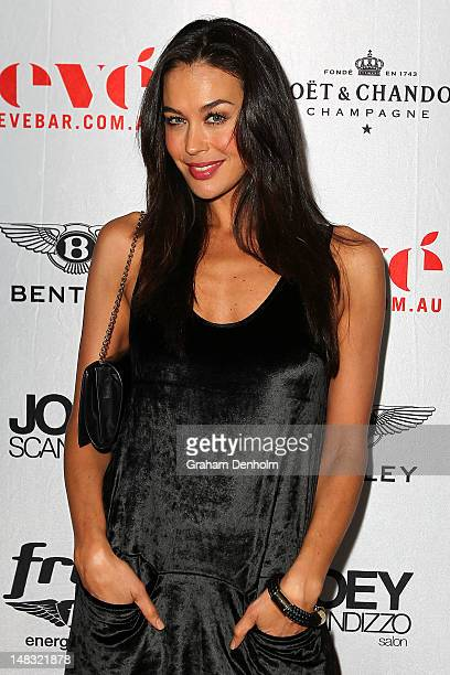 Model and TV personality Megan Gale arrives at the Chris Judd launch party at Eve Bar and Lounge on July 14 2012 in Melbourne Australia