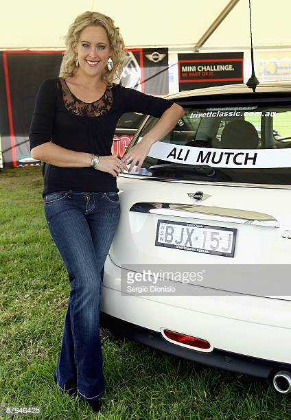 Model and TV presenter Ali Mutch attends the 50 year celebration of the Mini in Australia at Harold Park Raceway on May 24 2009 in Sydney Australia...
