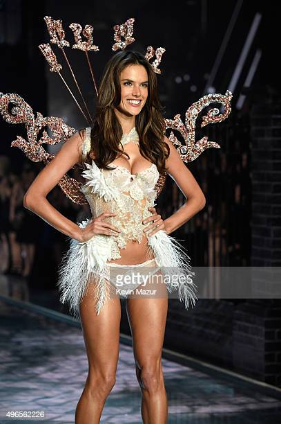 Model and Victoria's Secret Angel Alessandra Ambrosio from Brazil walks the runway during the 2015 Victoria's Secret Fashion Show at Lexington Armory...
