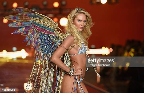 Model and Victoria's Secret Angel Candice Swanepoel from South Africa walks the runway during the 2015 Victoria's Secret Fashion Show at Lexington...