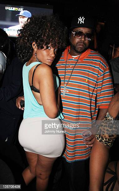 Model and video vixen Mizz DR and radio personality and CEO of Straight Stuntin Magazine DJ Kay Slay aka The Drama King attend a Straight Stuntin...