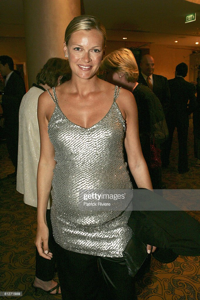 Model and wife of Lachlan Murdoch Sarah O'Hare wearing a Collette Dinningan designer silver top arrives at the Sofitel Wentworth Gala Opening Night September 8, 2004 in Sydney, Australia.