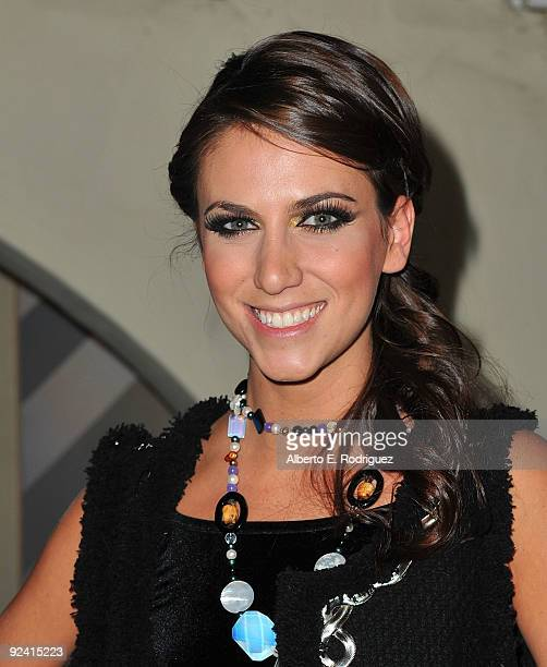 Model Andrea Guttag attends the Roberto de Villacis Award Season Couture Fashion preview at Hacienda Saint Pierre on October 27 2009 in Los Angeles...