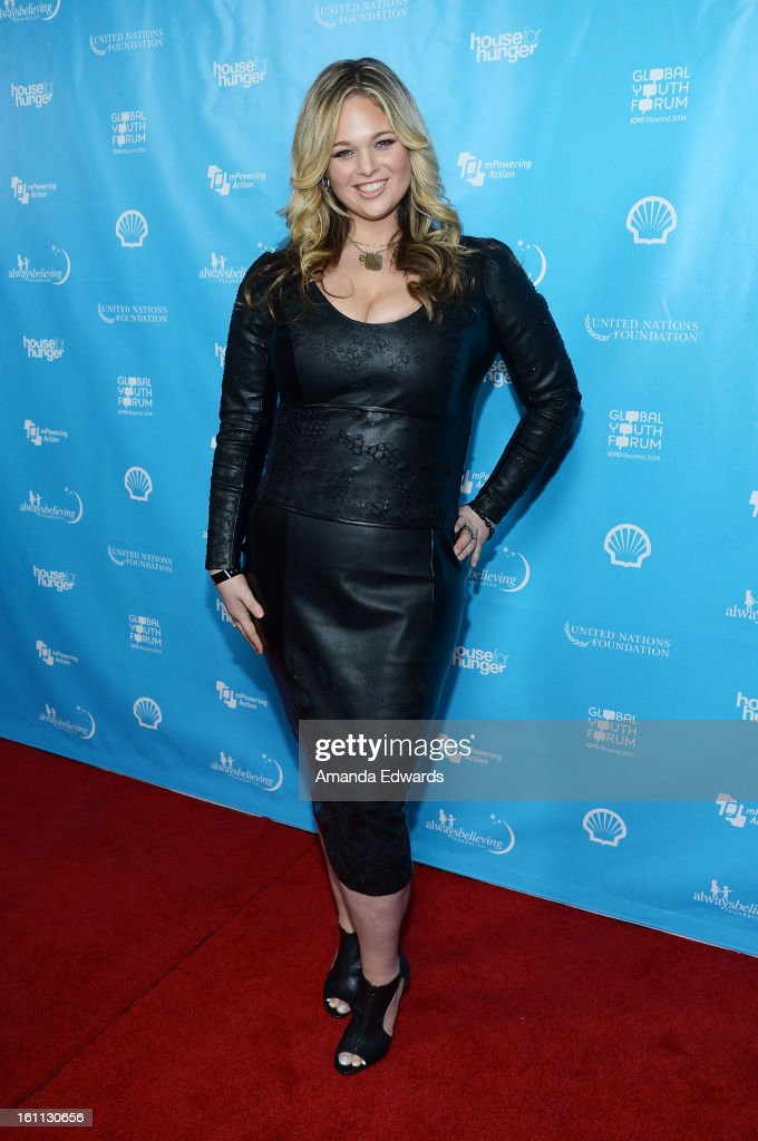 Model Andrea Horblitt arrives at the United Nations Foundation's 'mPowering Action' Innovative Mobile Platform launch party at The Conga Room at L.A. Live on February 8, 2013 in Los Angeles, California.