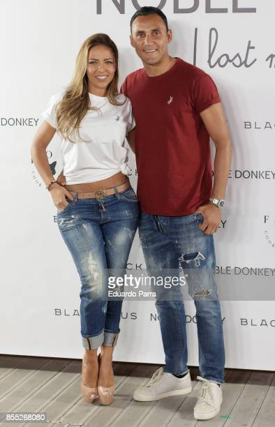Model Andrea Salas and Real Madrid soccer player Keylor Navas attend the 'Noble Donkey' photocall at Fox restaurant on September 28 2017 in Madrid...