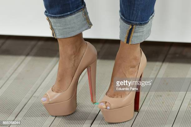 Model Andrea Salas shoes detail attends the 'Noble Donkey' photocall at Fox restaurant on September 28 2017 in Madrid Spain