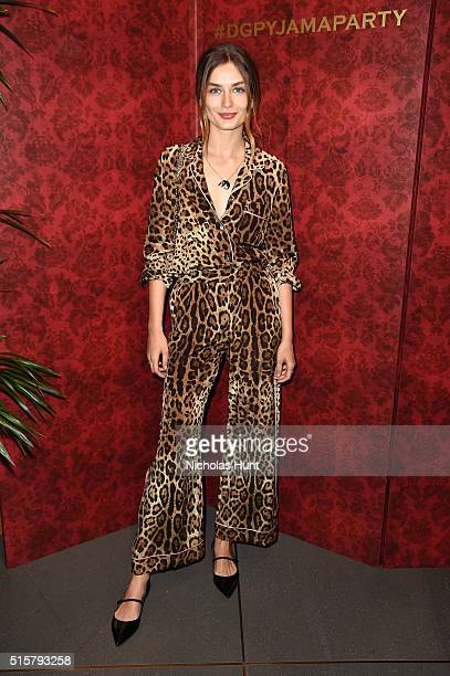 Model Andreea Diaconu attends the Dolce Gabbana pyjama party at 5th Avenue Boutique on March 15 2016 in New York City