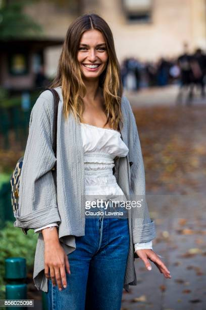 Model Andreea Diaconu is seen after the Mugler show during Paris Fashion Week Womenswear SS18 on September 30 2017 in Paris France