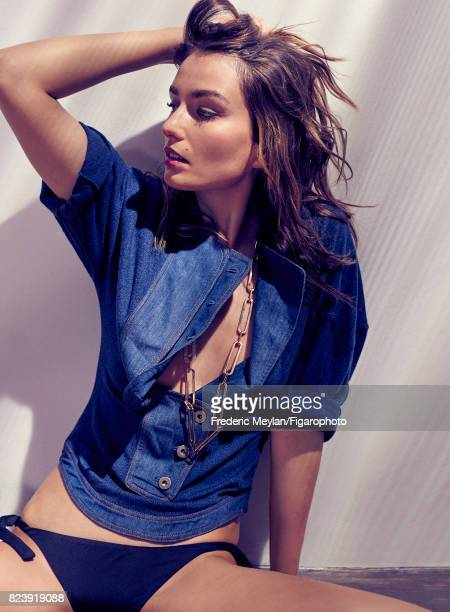 Model Andreea Diaconu the new face of Messika poses for Madame Figaro on May 18 2017 in Paris France Shirt swimsuit Mode 10 ans necklace from the...