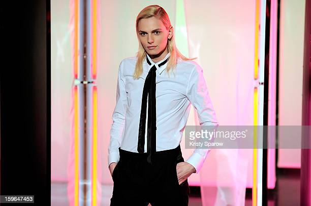 Model Andrej Pejic poses during the Jean Paul Gaultier Menswear Autumn / Winter 2013/14 show as part of Paris Fashion Week on January 17 2013 in...