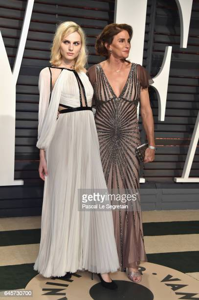 Model Andreja Pejic and TV personality Caitlyn Jenner attends the 2017 Vanity Fair Oscar Party hosted by Graydon Carter at Wallis Annenberg Center...