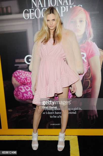 Model Andreja Pejic attends as National Geographic hosts the world premiere screening of 'Gender Revolution A Journey With Katie Couric' on February...