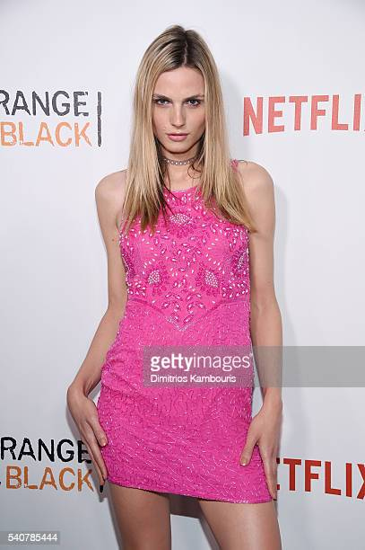 Model Andreja Pejic attends 'Orange Is The New Black' premiere at SVA Theater on June 16 2016 in New York City