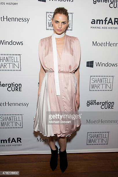 Model Andreja Pejic attends the 4th Annual Solstice presented by amfAR's generationCURE at Hudson Hotel on June 23 2015 in New York City