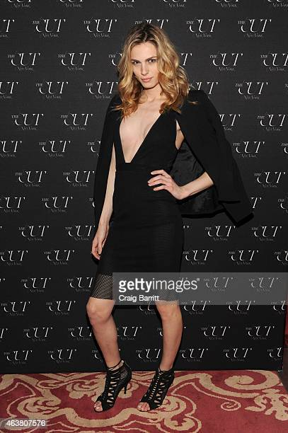 Model Andreja Pejic attends The Cut New York Magazine's Fashion Week Party at Gramercy Park Hotel on February 18 2015 in New York City
