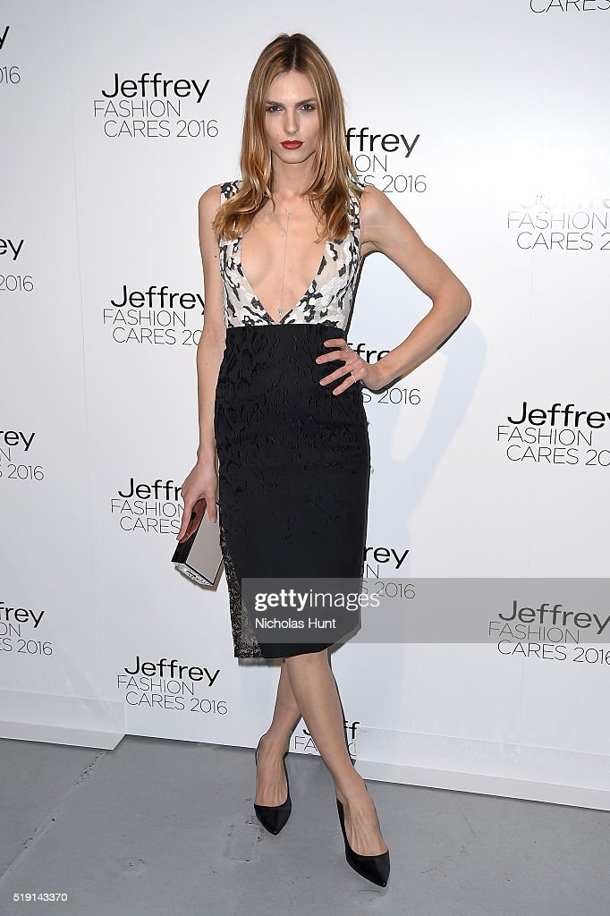 Model Andreja Pejic attends the Jeffrey Fashion Cares 13th Annual Fashion Fundraiser at the Intrepid Sea-Air-Space Museum on April 4, 2016 in New York City.