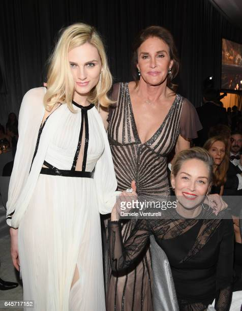Model Andreja Pejic Caitlyn Jenner and actor Sharon Stone attend Bulgari at the 25th Annual Elton John AIDS Foundation's Academy Awards Viewing Party...