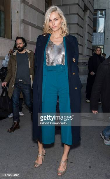Model Andreja Pejic is seen arriving to the Oscar de la Renta fashion show during New York Fashion Week at The Cunard Building on February 12 2018 in...