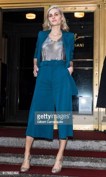 Model Andreja Pejic is seen leaving the Oscar de la Renta fashion show during New York Fashion Week at The Cunard Building on February 12 2018 in New...