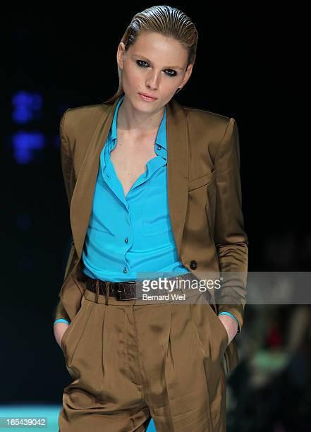 Model Andreja Pejic models during Arthur Mendonca presentation at the spring 2012 collection October 17 during Toronto Fashion Week