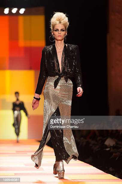 Model Andreja Pejic walks the runway during the Jean Paul Gaultier Spring/Summer 2013 HauteCouture show as part of Paris Fashion Week at on January...