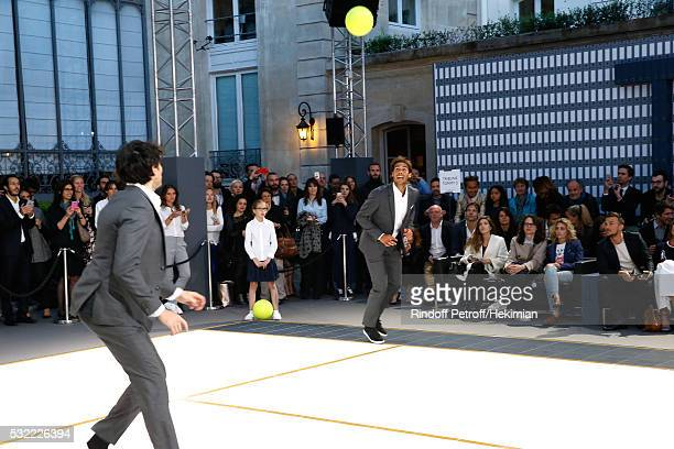 Model Andres Velencoso Segura and Tennis player Rafael Nadal compete during Tommy Hilfiger hosts Tommy X Nadal Party Tennis Soccer match on May 18...
