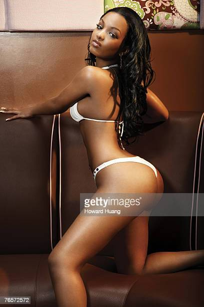 Model Angel Lola Luv poses for Black Men magazine
