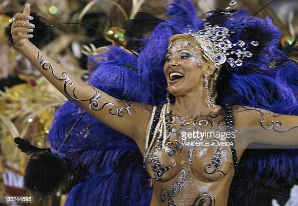 Model Angela Bismark of the Porto da Pedra samba school parades at the sambodromo during the second night of carnival in Rio de Janeiro Brazil 19...