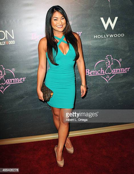 Model Angela Fong arrives for the Benchwarmer Back To School Red Carpet Party in conjunction with CEO Brian Wallos' Birthday celebration held at...