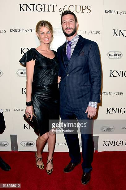 Model Angela Lindvall and actor Pablo Schreiber attend the premiere of Broad Green Pictures' 'Knight Of Cups' on March 1 2016 in Los Angeles...