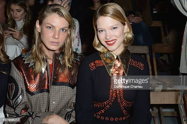 Model Angela Lindvall and actress Lea Seydoux attend the Miu Miu show as part of the Paris Fashion Week Womenswear Spring/Summer 2016 on October 7...