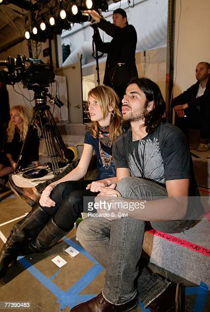 Model Angela Lindvall and Designer Ali Alborzi at rehearsal during Mercedes Benz Fashion Week held at Smashbox Studios on October 17 2007 in Culver...
