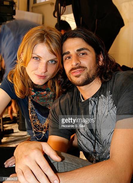 Model Angela Lindvall and Designer Ali Alborzi pose at rehearsal during Mercedes Benz Fashion Week held at Smashbox Studios on October 17 2007 in...