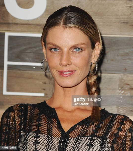 Model Angela Lindvall arrives at HM Conscious Collection Dinner at Eveleigh on March 19 2014 in West Hollywood California