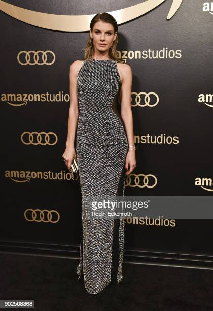 Model Angela Lindvall arrives at the Amazon Studios Golden Globes Celebration at The Beverly Hilton Hotel on January 7 2018 in Beverly Hills...
