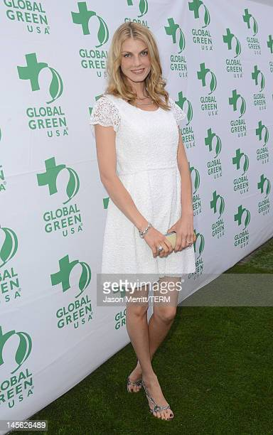 Model Angela Lindvall attends the 16th Annual Global Green USA Millennium Awards held at Fairmont Miramar Hotel on June 2 2012 in Santa Monica...