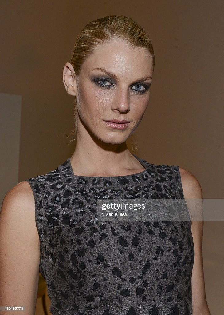 Model Angela Lindvall attends the Dannijo presentation during Mercedes-Benz Fashion Week Spring 2014 at Industria Studios on September 9, 2013 in New York City.