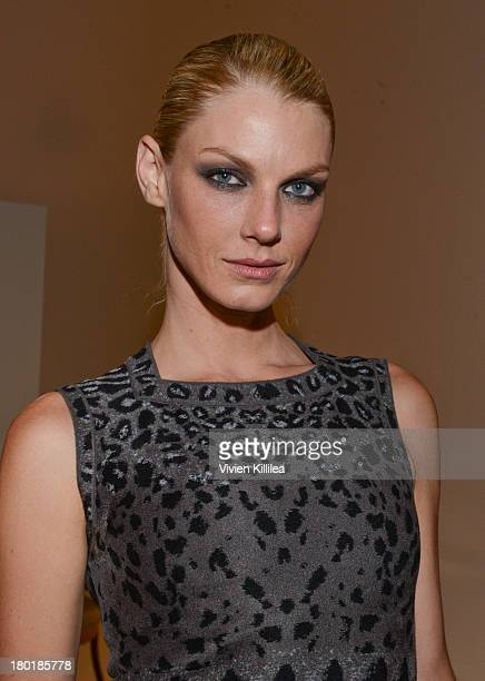 Model Angela Lindvall attends the Dannijo presentation during MercedesBenz Fashion Week Spring 2014 at Industria Studios on September 9 2013 in New...