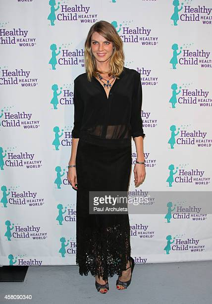 Model Angela Lindvall attends the Healthy Child Healthy World's Mom On A Mission 6th annual awards gala at The London Hotel on October 29 2014 in...