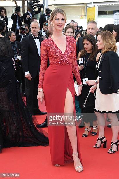 Model Angela Lindvall attends the 'Loving' premiere during the 69th annual Cannes Film Festival at the Palais des Festivals on May 16 2016 in Cannes...