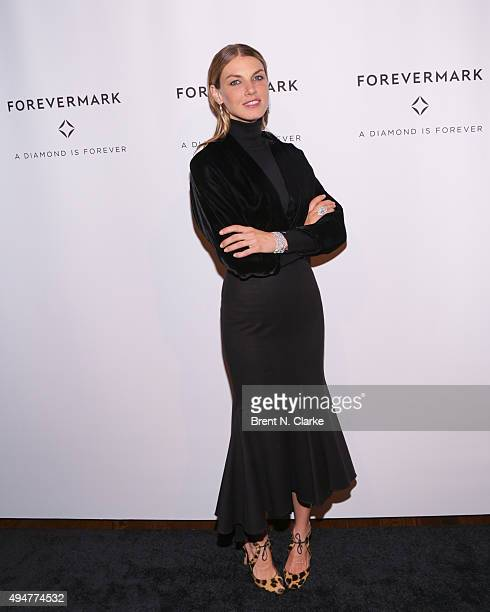 Model Angela Lindvall attends the New York premiere of 'The One' held at Stephen Weiss Studio on October 28 2015 in New York City