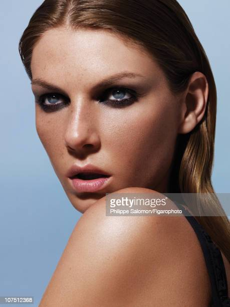 Model Angela Lindvall poses for a beauty and fashion shoot for Madame Figaro on July 24 2010 in Paris France Published image Figaro ID 098190010...
