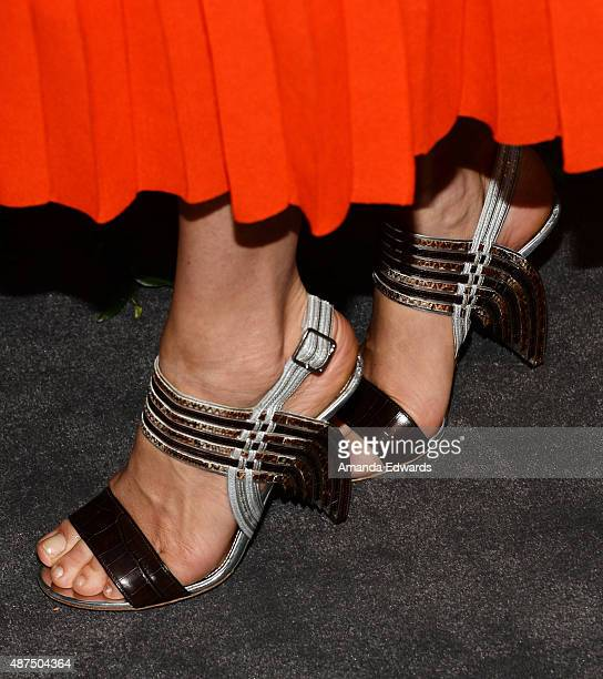 Model Angela Lindvall shoe detail arrives at the Salvatore Ferragamo 100 Years In Hollywood celebration at the newly unveiled Rodeo Drive flagship...