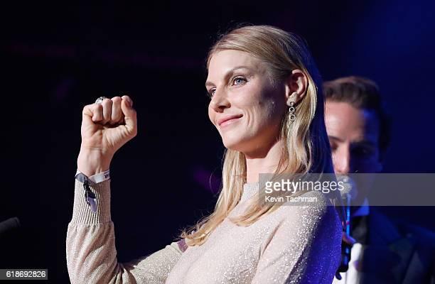 Model Angela Lindvall speaks onstage at amfAR's Inspiration Gala at Milk Studios on October 27 2016 in Hollywood California