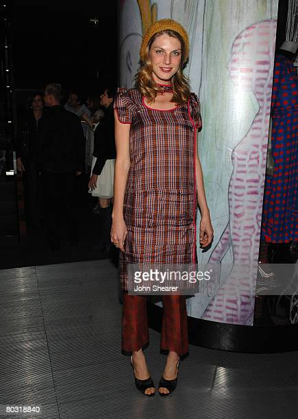 Model Angela Lindvall wearing Prada attends the Los Angeles screening of Trembled Blossoms presented by Prada on March 19 2008 in Beverly Hills...