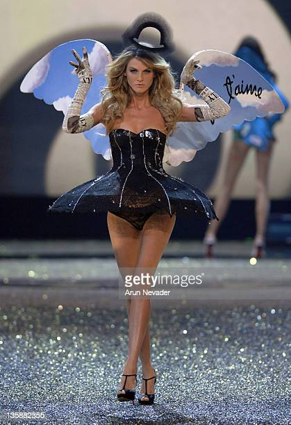 Model Angela Lindvall wearing Victoria's Secret at the 12th Victoria's Secret Fashion show at the Kodak Theater on November 15 2007 in Hollywood...